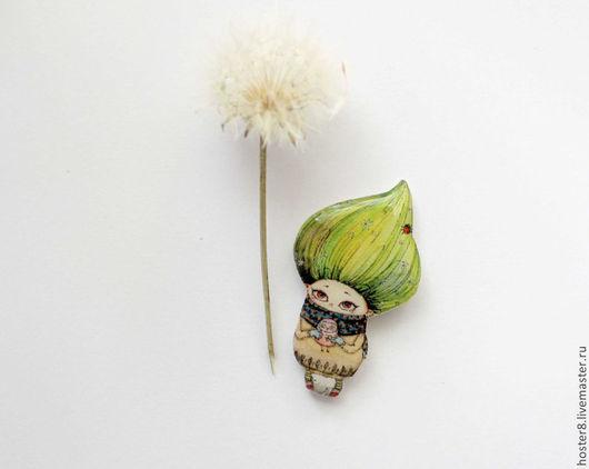 """Броши ручной работы. Ярмарка Мастеров - ручная работа. Купить брошь """"С весной в сердце"""" (0106). Handmade. Зеленый, брошка"""