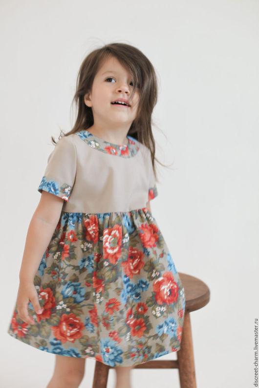Одежда для девочек, ручной работы. Ярмарка Мастеров - ручная работа. Купить Летнее детское платье в цветы, короткий рукав, пышная юбка. Handmade.