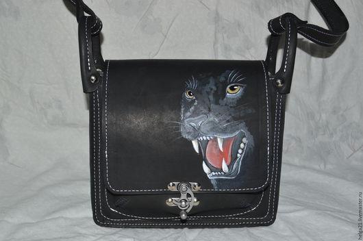 Женские сумки ручной работы. Ярмарка Мастеров - ручная работа. Купить сумка кожаная  с головой пантеры. Handmade. Черный