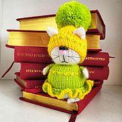 Мягкие игрушки ручной работы. Ярмарка Мастеров - ручная работа Кошка  вязаная миниатюрная. Handmade.