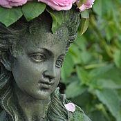Для дома и интерьера handmade. Livemaster - original item Bust of girl pots of concrete with imitation Josephine moss for home and garden. Handmade.