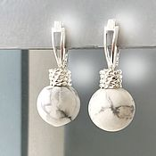 Украшения handmade. Livemaster - original item Earrings Marble stones English castle silver earrings light grey. Handmade.