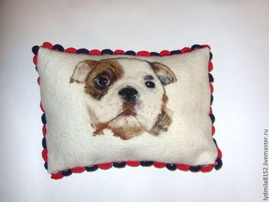 """Текстиль, ковры ручной работы. Ярмарка Мастеров - ручная работа. Купить Подушка  """"Английский бульдог"""". Handmade. Белый, подушка на диван"""