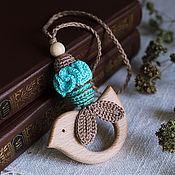 Одежда ручной работы. Ярмарка Мастеров - ручная работа Прорезыватель-грызунок с птичкой бирюзовый. Handmade.