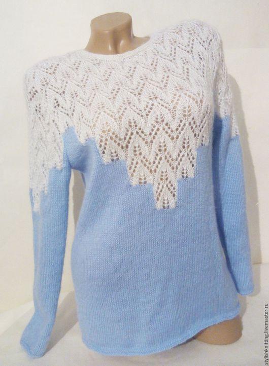 Кофты и свитера ручной работы. Ярмарка Мастеров - ручная работа. Купить Джемпер вязаный Снежинка. Handmade. Комбинированный, джемпер спицами
