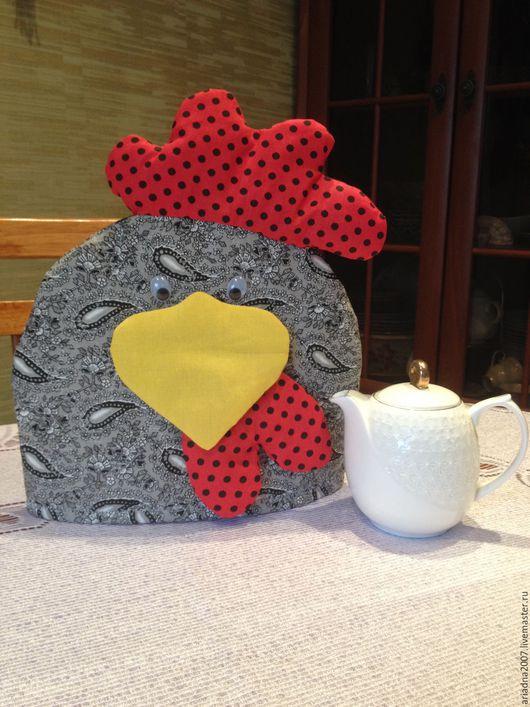 Кухня ручной работы. Ярмарка Мастеров - ручная работа. Купить Грелка на чайник. Handmade. Серый, петух символ года, кухня