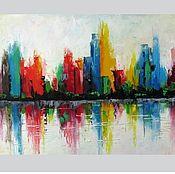 Картины и панно handmade. Livemaster - original item Oil painting on canvas cityscape abstract city. Handmade.