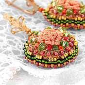 Украшения handmade. Livemaster - original item Earrings embroidery rosary / beads Earrings / Earrings embroidered pin. Handmade.