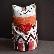 Для дома и интерьера ручной работы. Ярмарка Мастеров - ручная работа Влюбленный кот. Handmade.