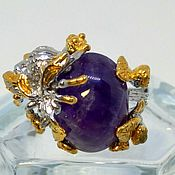 Украшения handmade. Livemaster - original item Silver ring with amethyst BEE size 18,5. Handmade.