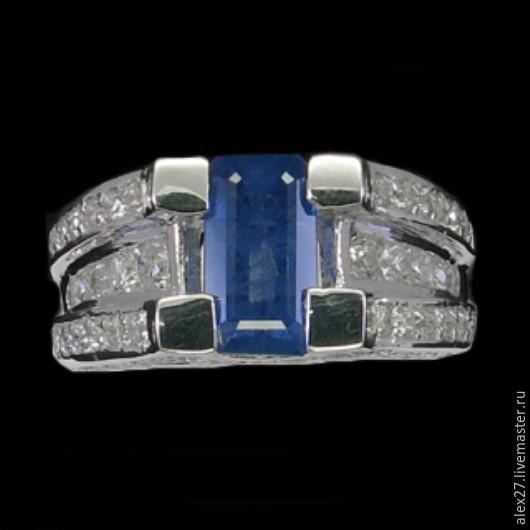 Кольцо сапфир р.16,6 серебро 925