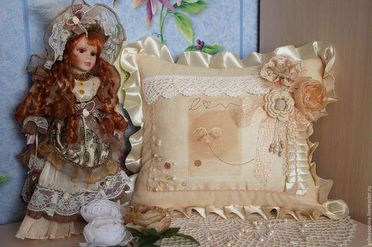 Текстиль, ковры ручной работы. Ярмарка Мастеров - ручная работа. Купить Подушка в стиле шебби-шик. Handmade. Бежевый, шерсть