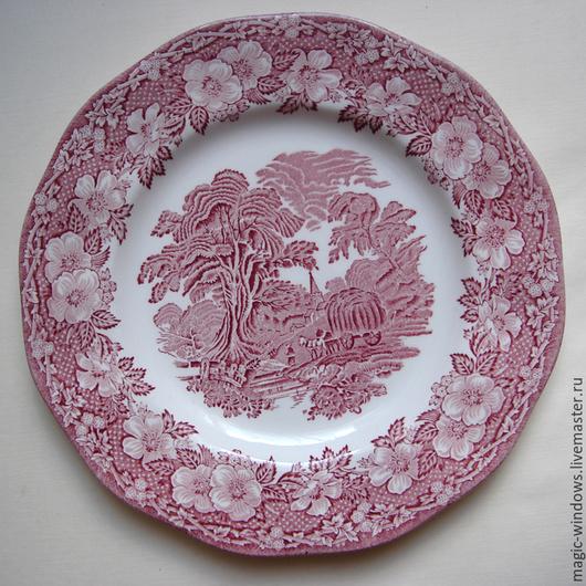 """Винтажная посуда. Ярмарка Мастеров - ручная работа. Купить Винтажная тарелка """"Woodland"""" - Англия. Handmade. Бордовый, фарфоровая тарелка"""