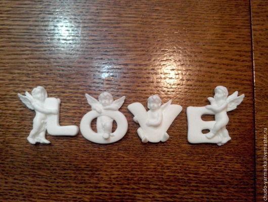 Открытки и скрапбукинг ручной работы. Ярмарка Мастеров - ручная работа. Купить Декоративный элемент для скрапбукинга буквы с ангелами love. Handmade.
