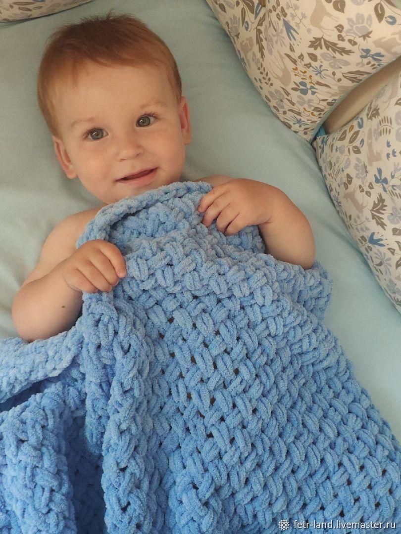 Baby blanket for a boy: blue Ombre knitted blanket, Baby blanket, Belgorod,  Фото №1