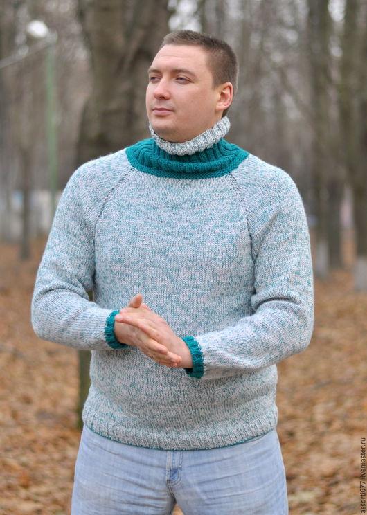 """Для мужчин, ручной работы. Ярмарка Мастеров - ручная работа. Купить Мужской свитер """"Амазонит""""Шапка в подарок!. Handmade. Комбинированный, подарок"""