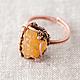 Кольца ручной работы. Ярмарка Мастеров - ручная работа. Купить Кольцо из меди с натуральными камнями сердолик, турмалин. Handmade. Оранжевый