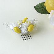 Свадебный салон ручной работы. Ярмарка Мастеров - ручная работа Гребень свадебный бохо с розами, цветами и лимонами. Handmade.