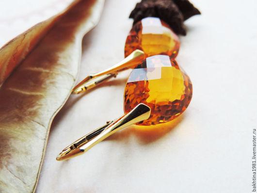 """Серьги ручной работы. Ярмарка Мастеров - ручная работа. Купить Серебряные серьги в позолоте """"Shining gold"""". Handmade. Желтые серьги"""