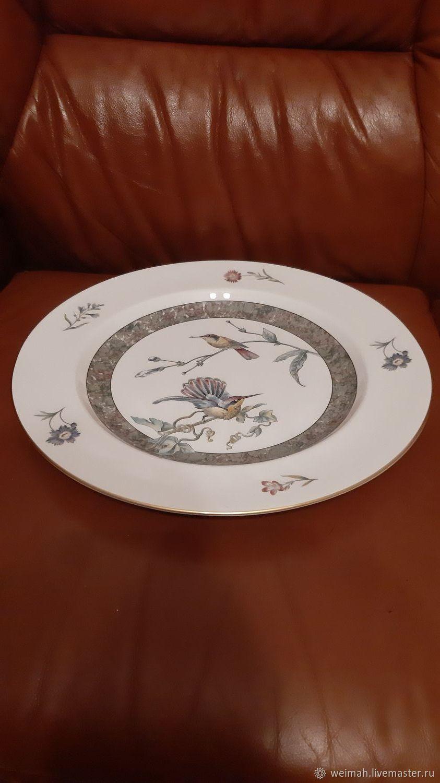 Wedgwood-Wedgwood-Dish-Hummingbird34 cm. Porcelain, Vintage plates, Leipzig,  Фото №1