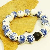 Украшения handmade. Livemaster - original item Ceramic bracelet with painted Tea ceremony. Handmade.