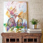 Картины и панно handmade. Livemaster - original item Spring bike - painting with flowers on canvas. Handmade.