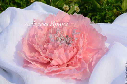 Броши ручной работы. Ярмарка Мастеров - ручная работа. Купить Пион  розовый. Handmade. Бледно-розовый, брошь, свадебное украшение