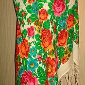 Винтаж ручной работы. Ярмарка Мастеров - ручная работа Платок павловопосадский, винтажный. Handmade.