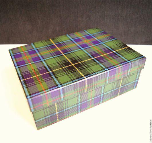 коробка `Шотландка зеленая` прямоугольная