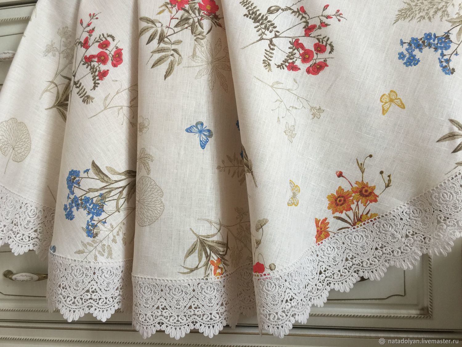 Home Textiles & Carpets handmade. Livemaster - handmade. Buy Linen tablecloth 'wild flowers,beige' In stock round.