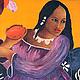 Люди, ручной работы. Ярмарка Мастеров - ручная работа. Купить Картина маслом на холсте, по мотивам картины Гогена Таитянка с манго. Handmade.
