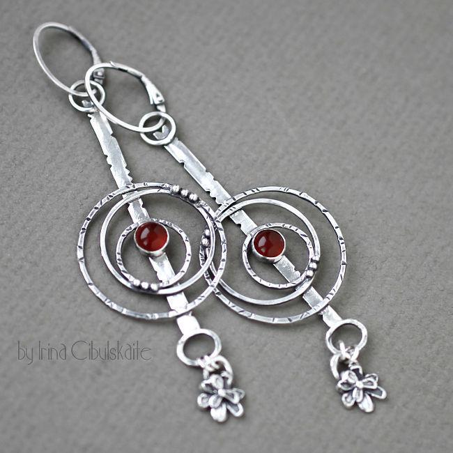 Ronda - Long Sterling silver Earrings with Carnelian, Earrings, Tallinn,  Фото №1