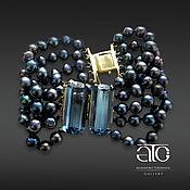 Украшения handmade. Livemaster - original item Gold bracelet with black pearls and Topaz. 585.. Handmade.
