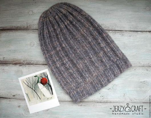 Шапка вязаная спицами шапка бини шапка бохо шапка теплая шапка вязанная шапка зимняя шапка  шапочка теплая шапочка вязаная спицами шапочка вязанная шапочка шерсть шапка шерстяная шапка вязаная меланж