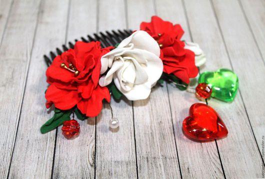 Заколки ручной работы. Ярмарка Мастеров - ручная работа. Купить Гребень для волос с розами Танго из фоамирана Красные белые розы. Handmade.