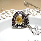 Украшения handmade. Livemaster - original item Transparent Heart Pendant Daisy Real Flower Living Memory Locket. Handmade.