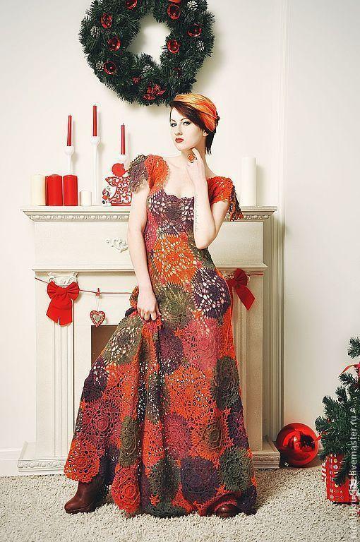 """Платья ручной работы. Ярмарка Мастеров - ручная работа. Купить Платье крючком """"Пряные рождественские звезды"""" из тонкой шерсти. Handmade."""