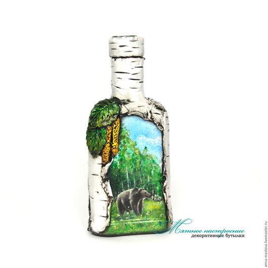 """Декоративная посуда ручной работы. Ярмарка Мастеров - ручная работа. Купить Бутылка декоративная """"Березовая роща. Медведь"""" бутылка с росписью. Handmade."""