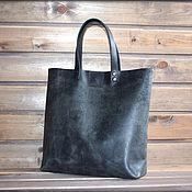 Классическая сумка ручной работы. Ярмарка Мастеров - ручная работа Шопер из натуральной кожи - винтажный графит. Handmade.