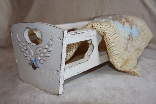 """Кукольный дом ручной работы. Ярмарка Мастеров - ручная работа. Купить Кроватка для куклы""""Крылья ангела"""".. Handmade. Кукольная мебель, белый"""