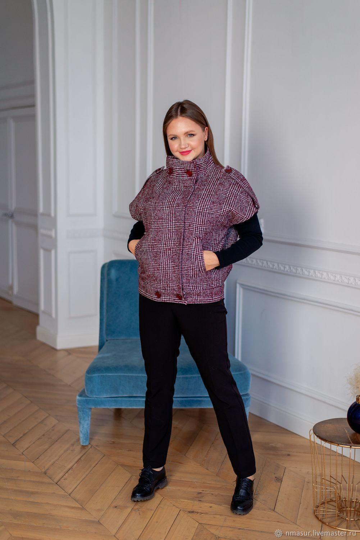 Wool vest lined with Bordeaux check, Vests, Novosibirsk,  Фото №1
