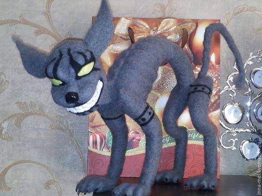 Игрушки животные, ручной работы. Ярмарка Мастеров - ручная работа. Купить валяная игрушка  Чеширский кот. Handmade. Темно-серый