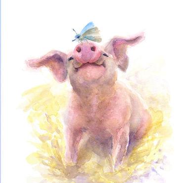 Картины и панно ручной работы. Ярмарка Мастеров - ручная работа Свинка и мотылёк. Авторский принт. Handmade.