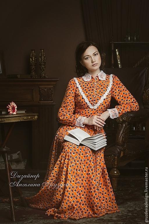 """Платья ручной работы. Ярмарка Мастеров - ручная работа. Купить """"Белла"""" ,шелковое женское  платье. Handmade. Оранжевый, натуральный шелк"""