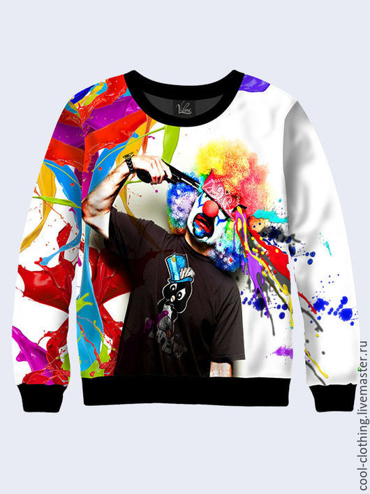 """Кофты и свитера ручной работы. Ярмарка Мастеров - ручная работа. Купить Свитшот """"Клоун"""". Handmade. Рисунок, кофта, яркая кофта"""