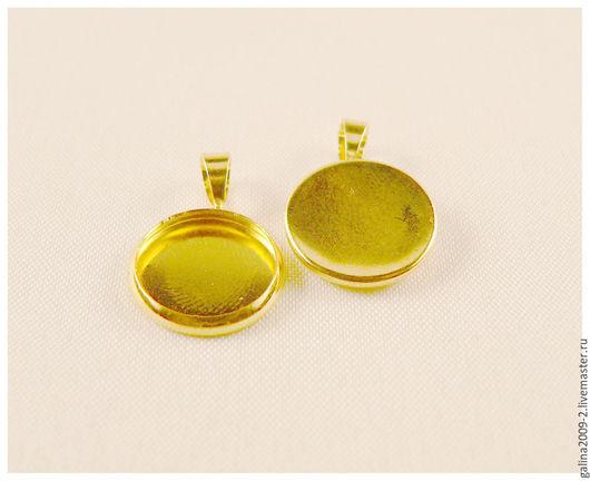 Для украшений ручной работы. Ярмарка Мастеров - ручная работа. Купить Основа для кулона золотого цвета, 12 мм.. Handmade.