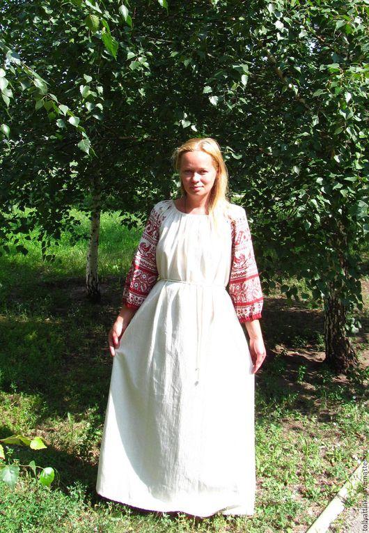 """Одежда ручной работы. Ярмарка Мастеров - ручная работа. Купить Платье-рубаха в фольклорном стиле """"Петушки"""". Handmade. Бежевый"""