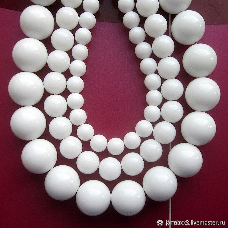 АГАТ белый, гладкий 4мм, Бусины, Дзержинский,  Фото №1
