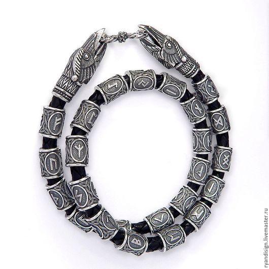 Мужской браслет из серебра и кожи с рунами, браслет женский