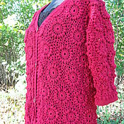 Одежда handmade. Livemaster - original item jacket crochet Bordeaux. Handmade.